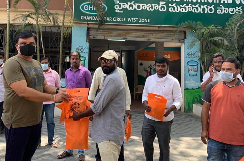 DAY 61….Distributed Masks at GHMC Office…